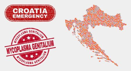Vector collage of wildfire Croatia map and red round scratched Mycoplasma Genitalium seal stamp. Emergency Croatia map mosaic of burning, electric flash items. Vector collage for guard services,