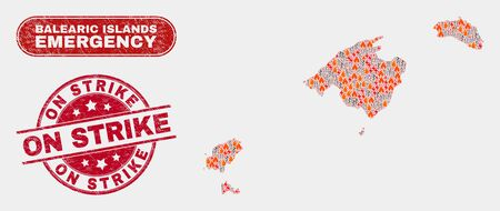 Vector collage of wildfire Balearic Islands map and red round grunge On Strike stamp. Emergency Balearic Islands map mosaic of fire, energy hazard elements. Иллюстрация
