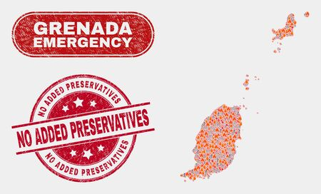 Vector composition of hazard Grenada map and red round distress No Added Preservatives watermark. Emergency Grenada map mosaic of fire, electric strike items.