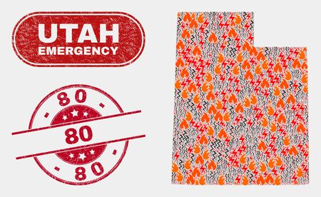 Vector collage of hazard Utah State map and red round grunge 80 watermark. Emergency Utah State map mosaic of flame, power shock icons. Vector collage for fire protection services, and 80 watermark.