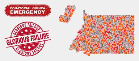 Vector collage of wildfire Equatorial Guinea map and red rounded textured Glorious Failure stamp. Emergency Equatorial Guinea map mosaic of wildfire, electric hazard symbols.