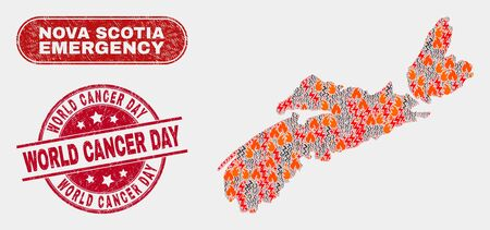 Vector collage of hazard Nova Scotia Province map and red rounded scratched World Cancer Day watermark. Emergency Nova Scotia Province map mosaic of wildfire, energy hazard elements.