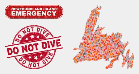 Vector collage of disaster Newfoundland Island map and red rounded distress Do Not Dive seal stamp. Emergency Newfoundland Island map mosaic of fire, power hazard items. Banque d'images - 127146990
