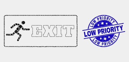 Pixelated emergency exit mosaic icon and Low Priority watermark. Blue vector rounded textured watermark with Low Priority text. Vector combination in flat style. Illustration