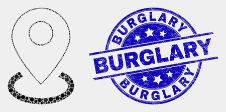 Dot map marker placement mosaic icon and Burglary stamp. Blue vector rounded grunge seal with Burglary caption. Vector composition in flat style. Vettoriali