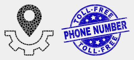 Dotted service map marker mosaic icon and Toll-Free Phone Number watermark. Blue vector round grunge watermark with Toll-Free Phone Number text. Vector combination in flat style.