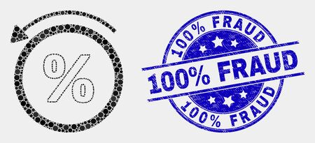 Dot percent back mosaic pictogram and 100% Fraud seal. Blue vector rounded scratched seal stamp with 100% Fraud message. Vector composition in flat style.