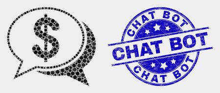 Dotted financial chat messages mosaic icon and Chat Bot seal stamp. Blue vector round distress seal stamp with Chat Bot message. Vector collage in flat style. Ilustrace