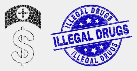 Dot medicine price mosaic icon and Illegal Drugs seal stamp. Blue vector round textured seal stamp with Illegal Drugs text. Vector combination in flat style.
