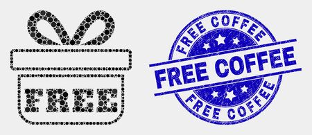 Dotted free gift mosaic icon and Free Coffee seal stamp. Blue vector round scratched stamp with Free Coffee phrase. Vector composition in flat style.