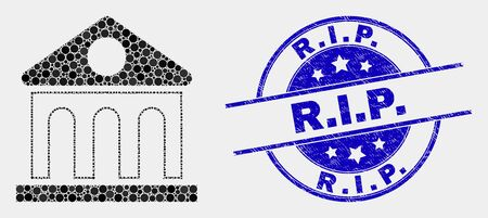 Dotted library building mosaic icon and R.I.P. seal stamp. Blue vector round distress seal stamp with R.I.P. text. Vector combination in flat style.