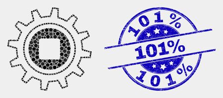 Dotted gear mosaic pictogram and 101% seal stamp. Blue vector rounded distress seal stamp with 101% message. Vector composition in flat style. Black isolated gear mosaic of scattered dots, Vectores
