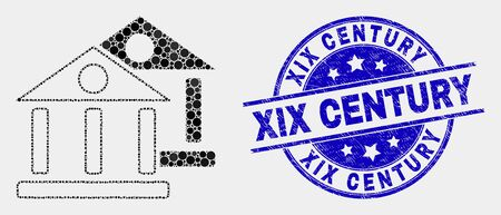 Dot museum buildings mosaic pictogram and XIX Century seal stamp. Blue vector rounded distress watermark with XIX Century title. Vector collage in flat style.