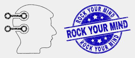 Dot brain interface links mosaic pictogram and Rock Your Mind seal stamp. Blue vector rounded textured seal stamp with Rock Your Mind text. Vector combination in flat style.