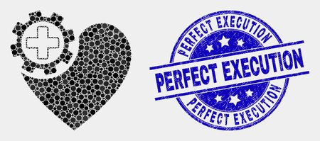 Pixel heart gear mosaic icon and Perfect Execution stamp. Blue vector round grunge stamp with Perfect Execution title. Vector composition in flat style. Stock Illustratie