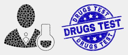 Dotted chemical scientist mosaic icon and Drugs Test seal. Blue vector round distress seal with Drugs Test message. Vector composition in flat style. Illustration
