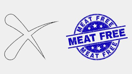 Dotted erase mosaic pictogram and Meat Free seal stamp. Blue vector round grunge seal stamp with Meat Free phrase. Vector combination in flat style. Black isolated erase mosaic of random dots,
