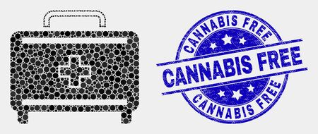 Pixelated first aid case mosaic icon and Cannabis Free seal. Blue vector round grunge seal with Cannabis Free phrase. Vector combination in flat style.