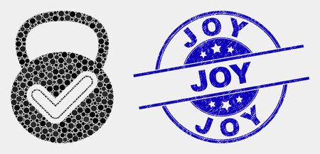 Pixel valid weight mosaic icon and Joy seal stamp. Blue vector rounded textured stamp with Joy message. Vector combination in flat style. Black isolated valid weight mosaic of scattered dots,
