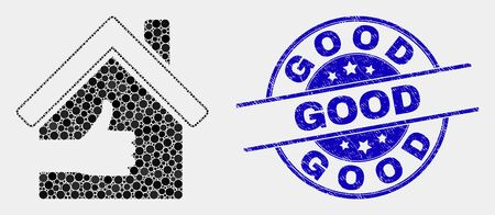 Dot best house mosaic icon and Good seal stamp. Blue vector round textured seal stamp with Good title. Vector composition in flat style. Black isolated best house illustration of scattered circles, Ilustrace