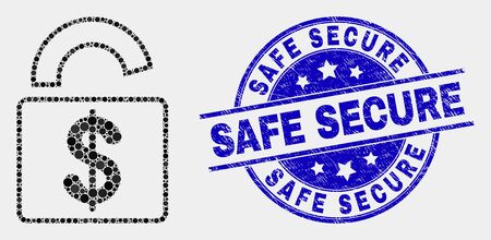 Dot bank lock mosaic pictogram and Safe Secure seal stamp. Blue vector round textured seal stamp with Safe Secure text. Vector combination in flat style.