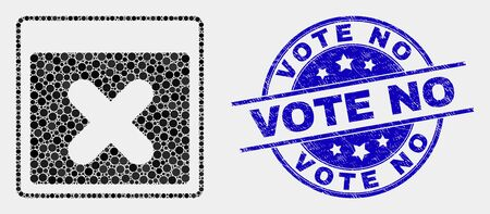 Pixelated close application window mosaic pictogram and Vote No stamp. Blue vector rounded distress seal stamp with Vote No phrase. Vector collage in flat style.