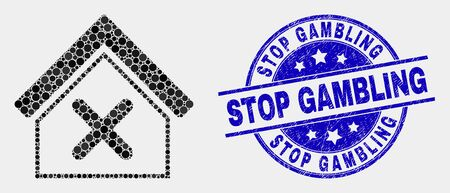 Dotted closed house mosaic icon and Stop Gambling seal. Blue vector rounded scratched seal with Stop Gambling text. Vector collage in flat style. Black isolated closed house mosaic of random spheres,