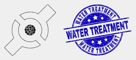 Dotted artificial joint mosaic pictogram and Water Treatment seal stamp. Blue vector rounded distress seal with Water Treatment caption. Vector collage in flat style. Illustration