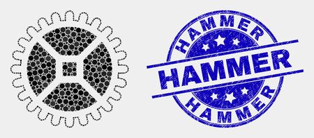Pixel clock gear mosaic icon and Hammer seal stamp. Blue vector round distress seal with Hammer text. Vector combination in flat style. Black isolated clock gear mosaic of scattered circles,