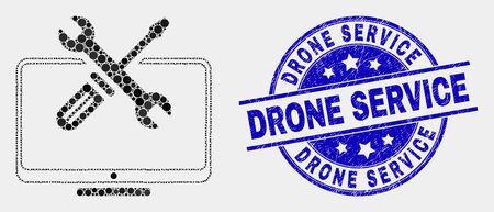 Dotted desktop tools mosaic pictogram and Drone Service seal stamp. Blue vector round scratched watermark with Drone Service message. Vector collage in flat style. Stock Illustratie