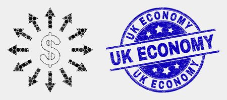 Dotted dollar emission mosaic icon and Uk Economy seal stamp. Blue vector rounded distress seal stamp with Uk Economy phrase. Vector collage in flat style.