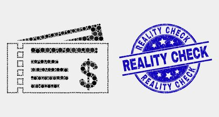 Dotted dollar cheques mosaic icon and Reality Check seal stamp. Blue vector rounded textured stamp with Reality Check phrase. Vector combination in flat style.