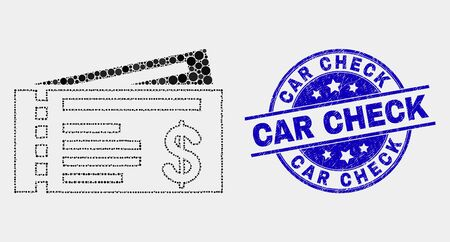 Dotted dollar cheques mosaic icon and Car Check seal stamp. Blue vector rounded textured seal stamp with Car Check text. Vector composition in flat style.