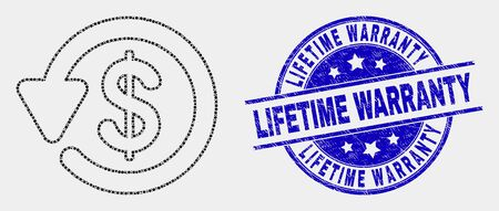 Dot dollar refund mosaic icon and Lifetime Warranty watermark. Blue vector round grunge watermark with Lifetime Warranty message. Vector composition in flat style.