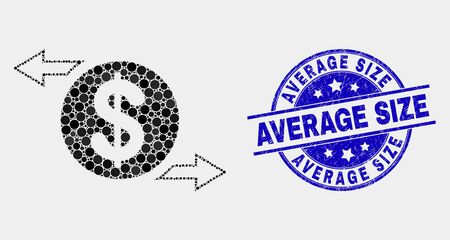 Dot dollar exchange arrows mosaic icon and Average Size seal. Blue vector rounded grunge seal stamp with Average Size message. Vector collage in flat style. Ilustração