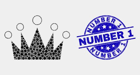 Dot crown mosaic pictogram and Number 1 seal stamp. Blue vector rounded textured seal with Number 1 text. Vector collage in flat style. Black isolated crown mosaic of scattered circles,