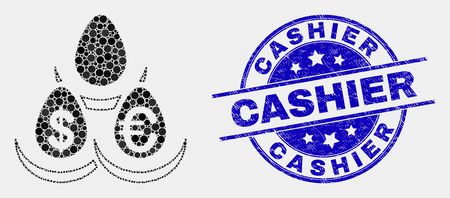 Pixelated currency deposit eggs mosaic pictogram and Cashier seal. Blue vector rounded textured seal stamp with Cashier text. Vector combination in flat style.