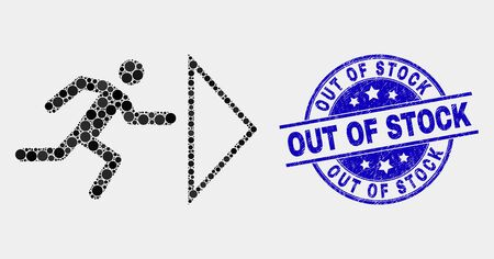 Dot exit person mosaic pictogram and Out of Stock seal stamp. Blue vector rounded grunge stamp with Out of Stock caption. Vector combination in flat style.
