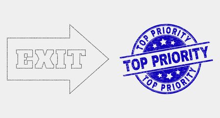 Pixel exit arrow mosaic icon and Top Priority stamp. Blue vector round textured seal stamp with Top Priority message. Vector composition in flat style. Illustration