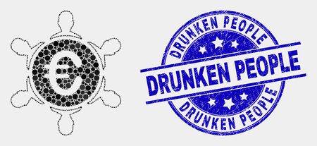 Dot euro people company mosaic pictogram and Drunken People seal stamp. Blue vector rounded distress stamp with Drunken People phrase. Vector combination in flat style. Illustration