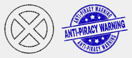 Pixel forbidden mosaic pictogram and Anti-Piracy Warning seal stamp. Blue vector rounded grunge seal with Anti-Piracy Warning message. Vector collage in flat style. Illustration