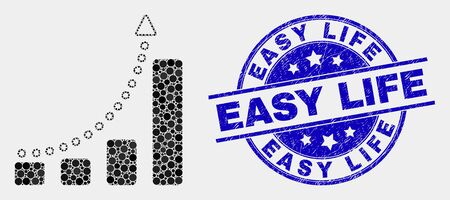 Pixelated fast growing trend mosaic pictogram and Easy Life seal. Blue vector round textured watermark with Easy Life text. Vector combination in flat style. Stockfoto - 127253226