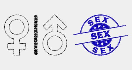 Pixel gender symbols mosaic pictogram and Sex seal stamp. Blue vector round textured seal stamp with Sex phrase. Vector composition in flat style. Illustration