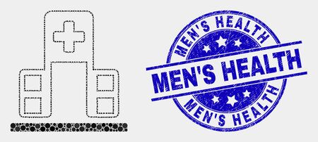 Dot hospital building mosaic pictogram and Men'S Health seal stamp. Blue vector round textured stamp with Men'S Health phrase. Vector composition in flat style.