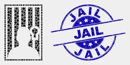 Pixel jailed person mosaic icon and Jail seal stamp. Blue vector rounded grunge seal with Jail message. Vector collage in flat style. Black isolated jailed person mosaic of random dots, Illustration