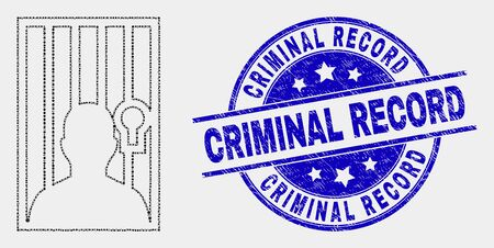 Pixelated jailed person mosaic icon and Criminal Record seal. Blue vector round scratched seal stamp with Criminal Record caption. Vector collage in flat style.