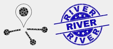 Pixelated map pointer links mosaic icon and River seal stamp. Blue vector rounded grunge seal stamp with River text. Vector composition in flat style. Illusztráció