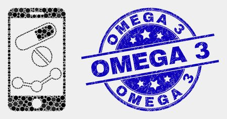 Dotted mobile pharmacy chart mosaic icon and Omega 3 watermark. Blue vector round scratched seal stamp with Omega 3 message. Vector composition in flat style.