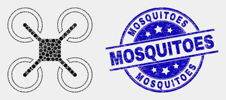 Pixel quadcopter mosaic icon and Mosquitoes seal stamp. Blue vector rounded distress seal stamp with Mosquitoes message. Vector combination in flat style.