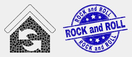 Dot refresh house mosaic icon and Rock and Roll seal stamp. Blue vector rounded scratched seal stamp with Rock and Roll caption. Vector combination in flat style.
